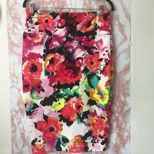 Dresses & Skirts - Neon Floral Bodycon Pencil Skirt